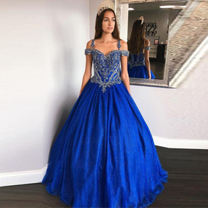 Blue Lace Appliques Quinceanera Dresses Off the Shoulder Beaded Sweet 16 Prom Dresses Lace Up Back Long vestidos de quinceañera