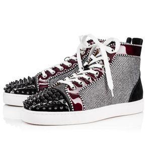 عالية الجودة الفاخرة تصميم أحمر أسفل حذاء رياضة للرجال النساء المدربين المسامير بريق ديامز أورلاتو الرجال شقة مسنبل سكيت المدربين