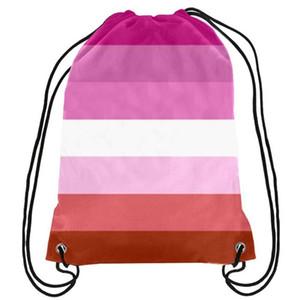 Lésbica do arco-íris com cordão Orgulho Gay Mochila Rosa LGBT Saco do presente Sports Personalizar 35x45cm poliéster impressão digital para miúdos das mulheres dos Tra