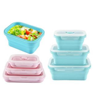 Silicone pliable Bento Box pliable portable Boîte à lunch Aliments Conteneurs avec Couvercles lave-vaisselle Vaisselle JK2001