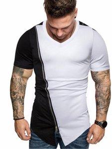 Hot Designer Men Tees Hit Color Shoulder Short Sleeve New Fashion Zipper Mens TShirts Summer Streetwear Diagonal Hem Hip Hop Tees Clothing