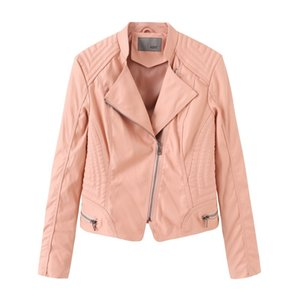 Ozhouzhan Cross Border Spring And Autumn WOMEN'S Dress Leather Coat Women'S Leather Jacket Slim Fit WOMEN'S Coat Female Pink Sho Water Filte