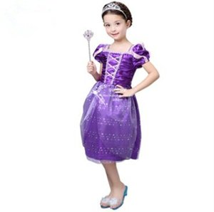 New 2020 Kids Rapunzel Fancy Dress For Girls Movie Cosplay Costume Purple Princess Fairytale Tangled Printed Lace Dress
