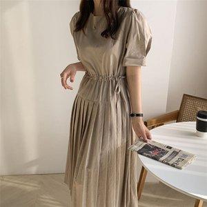 HziriP dulce de niña ata para arriba el sólido lindo vestido elegante 2020 Plus Breve cintura-controlado del verano de las mujeres retro fino Melena mediana vestidos T200627