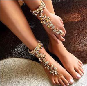 Braccialetto della caviglia Wedding sandali a piedi nudi marea spiaggia Europa e america gioielli sexy torta catena gamba femmina boho cavigliera di cristallo