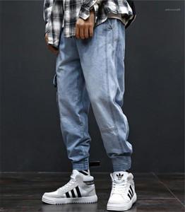 Cargohose mit Taschen Hiphop los Light Blue Jeans Männer Art und Weise lange Mens