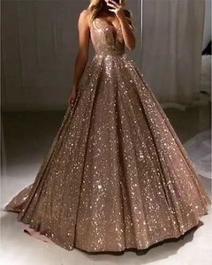 Ball Gown Luxurious Sparkle Quinceanera evening Dress V Neck Sleeveless Sweep   Brush Train Sequined with Pleats Sequin 276