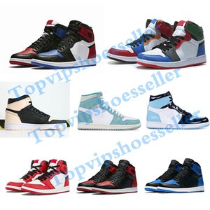 Nike Air Jordan 1 shoes Basketball Shoes varsity diseñador rojo Zapatos de baloncesto para hombre Zapatillas Nuevo 2019 Zapatillas de deporte de cuero genuino sin caja