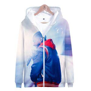 Fashion-nipsey hussle Hiphop Herren Strickjacken Hoodies Spring Zipper Hooded Rap 3D Gedruckte Sweatshirts