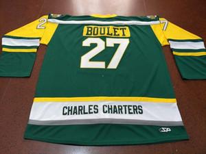 Erkekler CHARLES KİRALAMA # 27 Logan Boulet Humboldt Broncos'u gerçek yeşil nakış HOKEYİ JERSEY veya Jersey Retro özel herhangi bir ad veya numara