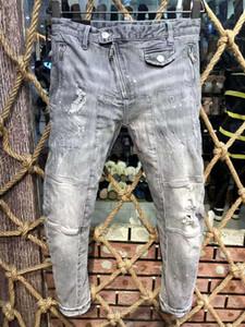 Mens Designer Jeans Fashion Style Biker Jeans Blau Gewaschene Brief druckt dünnen Jeans Men Plus Size EUR Größe 29-38