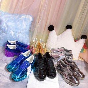 amanti HOT casuali Raf Simons scarpe sovradimensionati, Ozweego scarpe in argento metallizzato effetto dip Sole Sport Trainer Multicolor riflettente Size35-46