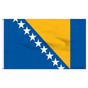 150X90 CM 3x5ft Bosnie drapeau Pas Cher Personnalisé Drapeaux En Plein Air utilisation intérieure, pour Festival suspendus publicité, Livraison Gratuite