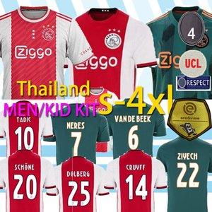 20 21 AJAX NERES mens camisa de futebol 19 20 de Ligt ZIYECH TADIC casa vermelho afastado crianças verdes kit de futebol uniformes camisas de 2020 s-4xl tailândia