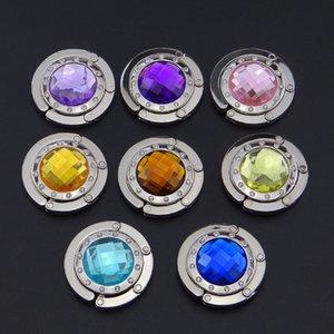 8 cor cristal metal DIY dobrável Glossy bolsa do saco bolsa Hanger Etiqueta dobrar Titular Hook Restaurant Dinning Luggages navio da gota