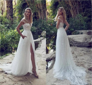 Limor Rosen 2020 Latest Sexy Wedding Dresses Illusion Off Shoulder Sweep Train Backless Garden Beach Bridal Gowns Lace Applique A Line