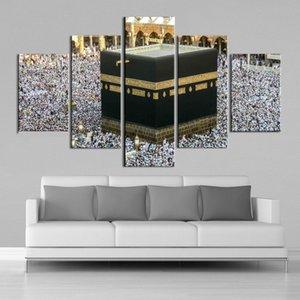 Islâmica Wall Art Mesquita Meca Peregrinação 5 Pieces Tela de impressão Pinturas Tela Landscape Prints Posters Home Decor quadro