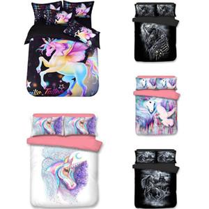 3D Unicorn conjuntos de cama dos desenhos animados impresso cama Set Colchas dos desenhos animados capas de edredão 3pcs Kits capa do edredon + Pillow caso capa / XD21678 definir