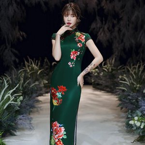 3 Style Women Long Plus Size Chinese Qipao Evening Dress Floral Fashion Summer Cheongsam Elegant Oriental Style Party Dresses