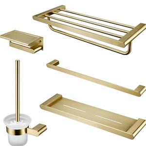 Or brossé Accessoires de salle de Porte-Set Brosse à dents pour mur Porte-serviettes de bain étagère de bain Ensembles de matériel Porte-tissu