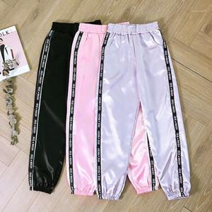 PUIMENTIUA 2019 Big bolso cetim Destaque Harem Pants Mulheres fita Esporte Glossy Calças BF Harajuku Corredores Mulheres Sports Pants1