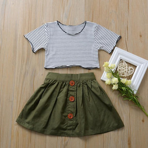 Toddler Girl Outfits Striped Girls Tops Skirts 2pcs Sets Short Sleeve Children Dresses Set Boutique Kids Clothes Summer Clothing DW5234