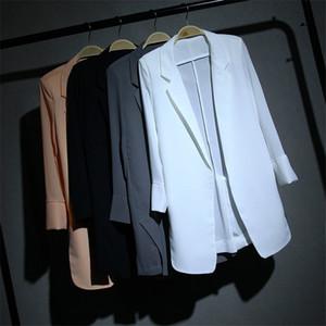 Nuevo verano del tamaño grande de las mujeres de la gasa delgada Blazer juegos formales de Primavera Midi chaquetas largas sólido Señora juego de la capa delgada 364 de Protección Solar