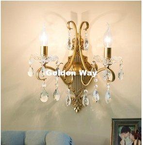 Iluminação de parede Modern American País 1arm 2arms lâmpada de parede Lustres Vintage Sconce de Ouro Crystal Clear Wall Light Decoração