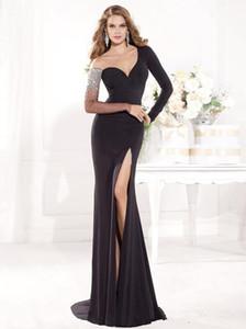 2020 Новая длинный рукав Платье-де-фест платье Асимметричного Split Side 2018 Sexy Черного Кристалл бусы Формальное вечернее платье