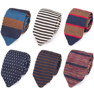 Lazo para hombre de punto de punto de ocio rayadas tejidas Lazos Lazos de la moda para los hombres clásico diseñador del pañuelo Accesorios camisa flaco corbata