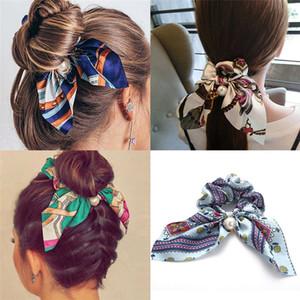 Çiçek Baskı İnci hairband İçin Kadınlar Bow Düğüm Saç Halat Fashoin Atkuyruğu Saç Kravatlar Kız Kafa Saç Aksesuarı DHL