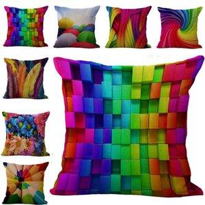 Colors Rainbow Geometric pattern Pillow Case Cushion cover Linen Cotton Throw Pillowcases 10 Color Options Custom Free 45x45cm 100g