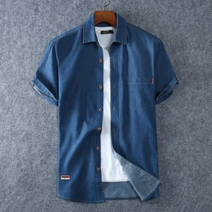XL-8XL 2020 New Summer Plus Size Men Short-sleeved Large Size Denim Shirt Single Breasted Casual Jeans Shirt Vintage Men