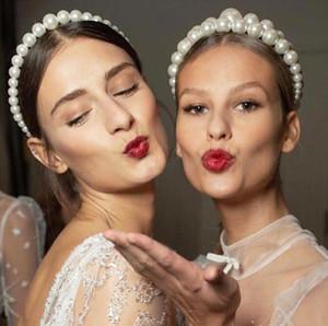 Tasarımcı Inci Saç Hoop Trendy Lüks Büyük İmitasyon Inci Kafa Kadınlar için Zarif Şapkalar Kızlar Saç Aksesuarları Düğün Takı
