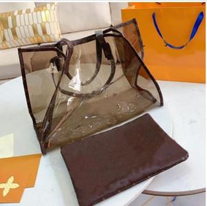 Estate borsa chiare laser fiore vecchio signore di stampa trasparenti grande borsa del progettista borsa di lusso di modo della borsa di shopping borsa a tracolla