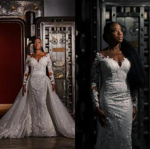 Плюс Размер Свадебные платья Русалка со съемной поезд 2020 полный шнурок аппликация Иллюзия с длинным рукавом Свадебное платье Vestidos