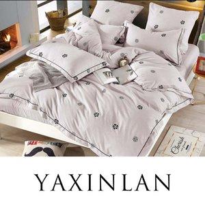Roupa de cama YAXINLAN conjunto de cores algodão puro flores de plantas frescas padrões de lençol colado fronha fronha 4-7pcs Y200417