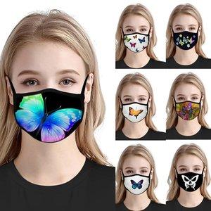 Motif papillon design masque visage 7 style extérieur anti-poussière respirante masque peut être lavé et réutilisé XD23595