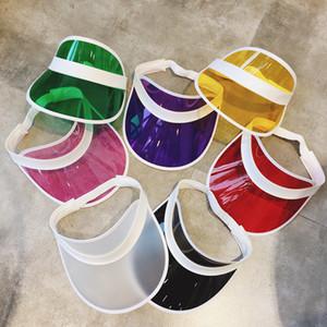 Modo trasparente Visiera Cappello creativo di plastica trasparente Svuotare Top Hat protezione esterna di viaggio Beach protezione solare Sun Cappello del partito 100pcs T1I1936