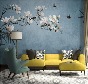 Modern Chinese style hand-painted flowers and birds wallpapers, living room TV background wall paper, large art non-woven 5d mural Custom