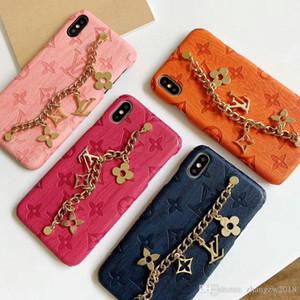 la conception de la marque lettre métallique logo cas de téléphone de la chaîne pour l'iphone 11 11Pro max XS X XR 7 7plus 8 8plus 6 shell 6plus
