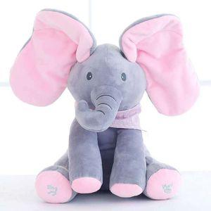 Dropshipping millffy 1PC 30CM elettrici Elephant Giocattoli animali farciti di canto orecchie bambino Giocattoli Musica flaping Sposta bambola interattiva