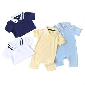 Facejoyous Летней моды новорожденных мальчиков Одежда для девочек сплошного цвета с коротким рукавом Baby Rompers Новорожденного Комбинезон 0-9M