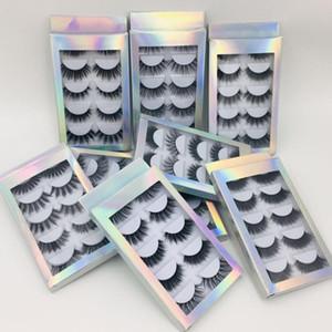 홀로그램 상자 DHL 무료 핫 판매 최고의 가격 5 쌍 천연 두꺼운 합성 눈 속눈썹 메이크업 손수 만든 가짜 크로스 가짜 속눈썹