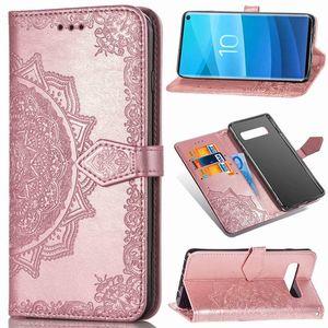 Pie de imprenta de encaje Mandala Flower Wallet de cuero Tarjeta de cuero Caja de la ranura para Samsung S8 S9 S10 S20 Note 10 PLUS A10 A30 A40 A50 A70 A70