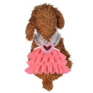 Pet Dog Puppy Cat Heart V Neck Lace Girl Dress Vest Skirt Clothes Summer Apparel Dog Apparel
