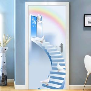 Home Decor Door Sticker 3D Stairs Pigeon Rainbow Mural Wallpaper Living Room Kid's Bedroom Door Poster Self-Adhesive Waterproof Bedding Supp