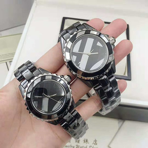moda clássico relógio movimento de quartzo listrado marcar cinta cerâmica preto e branco e relógio do amante Caso