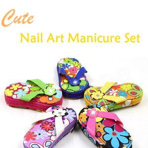 Fiore Slipper Nail Tool Kit del fumetto sveglio del manicure dell'acciaio inossidabile di cura Strumenti di arte del chiodo Manicure Set HHAa159