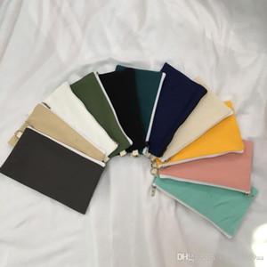14 renk kırtasiye durumlarda Para cüzdanı düzenleyici torba astar olmadan Kalem kalem torba fermuar boş düz tuval